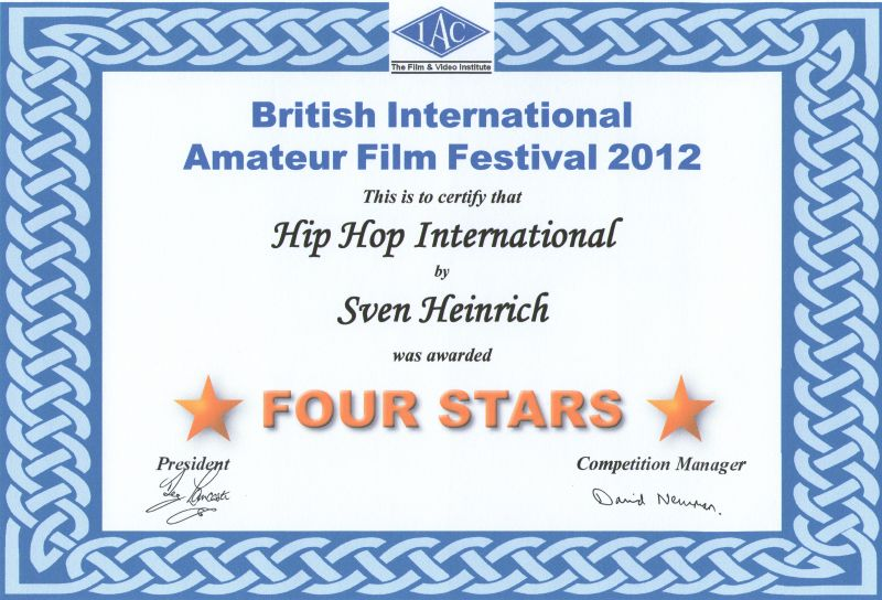 BIAFF 4StarAward Certificate for Hip Hop International and – Merit Certificate Comments