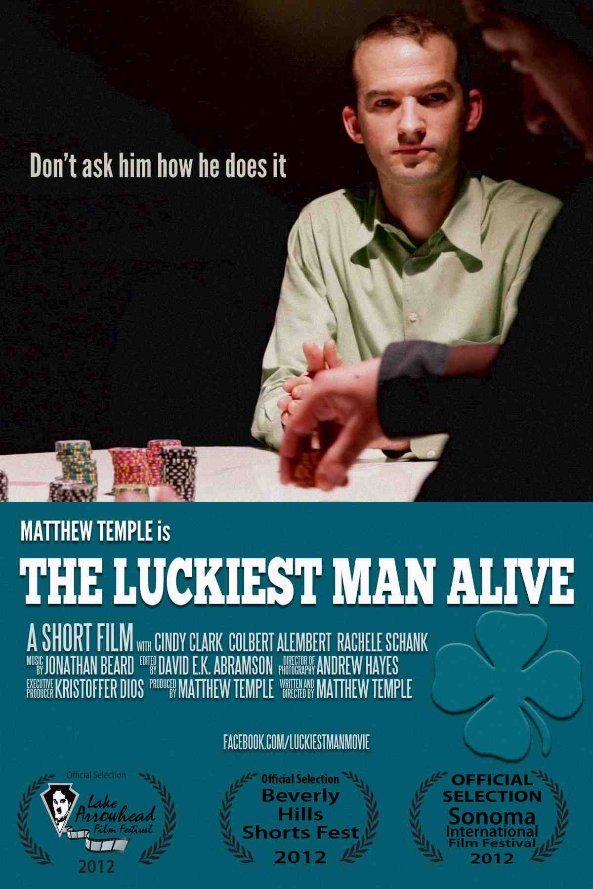 """Poster for """"The Luckiest Man Alive"""", with and by Matthew Temple"""