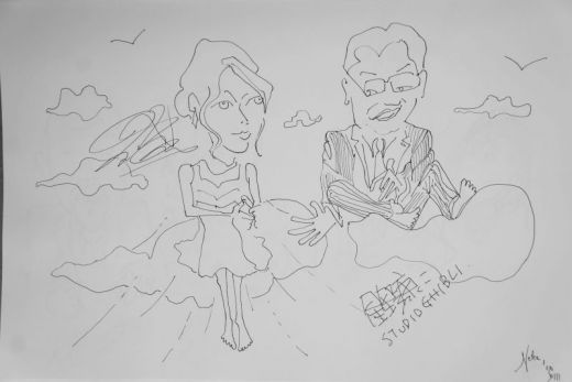 Kaze Tachinu - The Wind Rises with Miori Takimoto and Koji Hoshino at Venice 2013, Sketch by Nesta