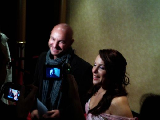 Director Cagan Irmak and actress Sevinc Erbulak being interviewed