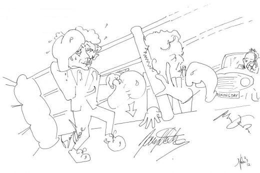 Boxing Day, Bernard Rose, Danny Huston, Matthew Jacobs. Venice Film Festival. Sketch by Nesta.