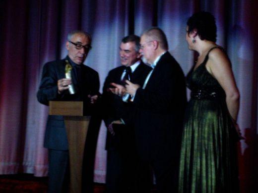 Sener Sen accepting Golden Wings Lifetime Achievement Award