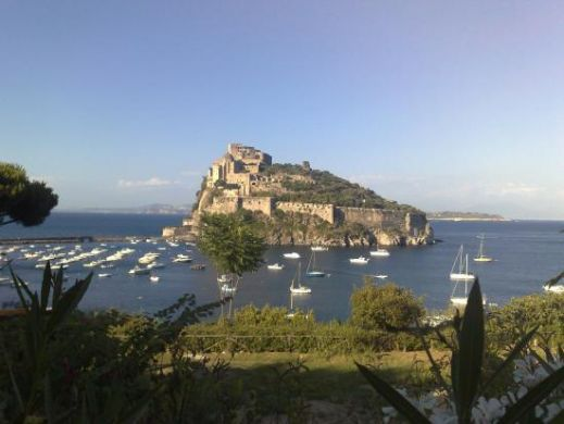 View from the gardens of eden to Arragonese castle