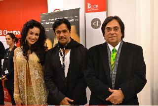 Actress Madhuri Bhattacharya, Kanarese action star Arjun Sarja, and producer-magnate Ashok Kheny of Bangalore