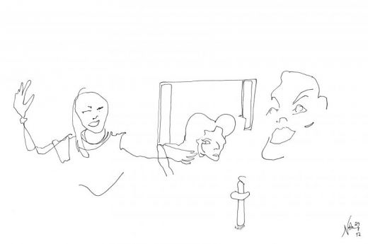 Marina Abramovic asked if she could rub salt in her wounds in Bob Wilson's Life and Death of Marina. Sketch by Nesta.