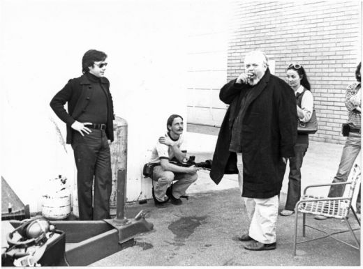 "During the filming of Orson Welles' last unfinished film ""The Other Side of the Wind."""