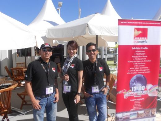 The team in Cannes by the Indonesian booth