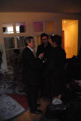 Régine Hatchondo, Michel Hazanavicius, Bruno Chatelin @ wine tasting reception