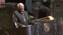 Archbishop Desmond Tutu on the podium