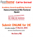 Call for Entries!! Academy Award-qualifying, HUESCA International Film Festival (Spain), submit for 2€!!