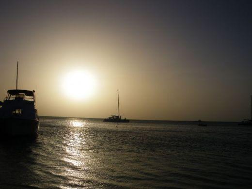 sun set on the ocean