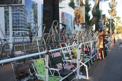 Ladders left behind by fans looking to get a glimpse of the red carpet