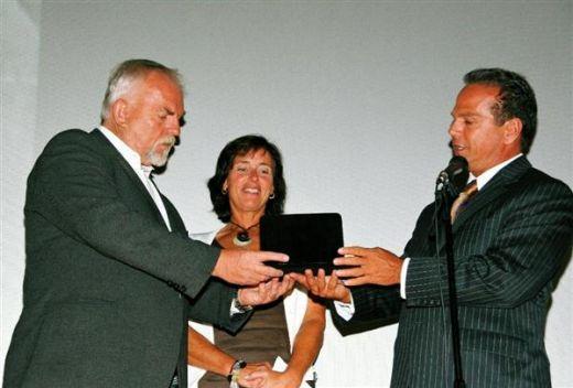 John Ratzenberger receives the key to the City of Providence from Mayor David Cicilline
