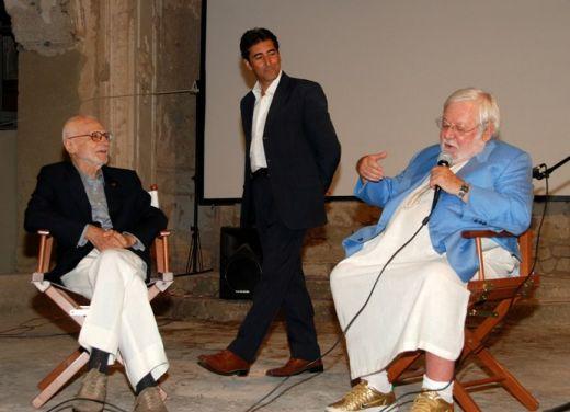Mario Monicelli with Paolo Villaggio at Ischia FIlm Festival