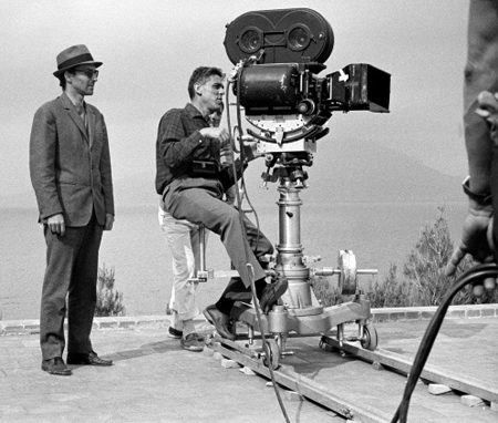 "Jean-Luc Godard (left) on the set of ""Le Mepris"", 1963"