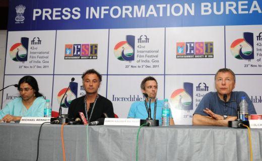 Filmmakers Michael Bennet(Matariki),Simon Kaijser DaSilva (Stockholm East) & Milcho Manchevski (Mothers) in the MediaCentre IFFI