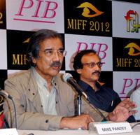 Environmental Filmmaker Mike Pandey,winner of V Shantarm Lifetime Achievement Award  with MIFF 2012 Director Shankar Mohan