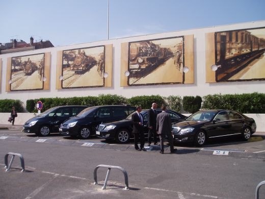 The Valet Cars for the Stars, lined up and at the ready outside the Gare SNCF