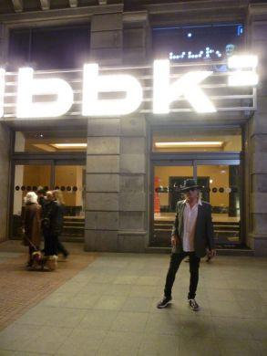 "Gary Lucas outside Sala BBK Bilbao Spain before performing Spanish ""Dracula"" at Musiketan Festival 1/15/12"