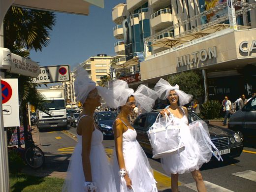 Girls from Cannes advertise Vodka in the street (against the law though)