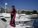 Namita Lal, an Indian banker-turned producer/actress appearing live on a boat in Cannes, launching the poster of Angarey.