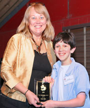 "Zach Mills (Mr. Magorium's Wonder Emporium) accepting ""Best Emerging Actor"" Award from KIDS FIRST! president, Ranny Levy"