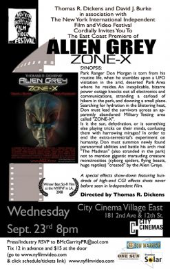 Award-wining Sci-fi film screena as part of the NYIIFVF - available for distribution Alien- Grey Zone X