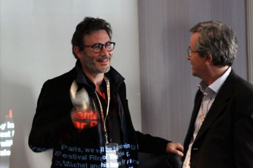 Michel Hazanavicius with Bruno Chatelinin Paris april 3