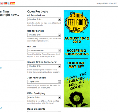 Feel Good Film Festival - submit feel good films and screenplays at https://www.withoutabox.com/login/6743