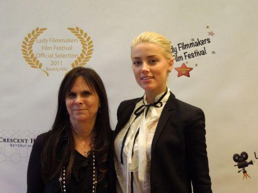 Amber Heard Presents Award to Pam Dixon, CSA at Lady Filmmakers