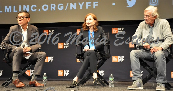 NYFF54 U.S. Premiere of ELLE: (L-R) Director of Programming Dennis Lim, NYFF,  French actress Isabelle Huppert and Dutch film director Paul Verhoeven.